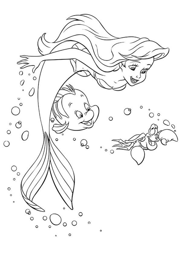 Tranh to màu nàng tiên cá Ariel và bạn của mình