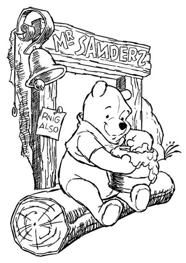 Tranh to màu gấu pooh và hủ mật yêu quý