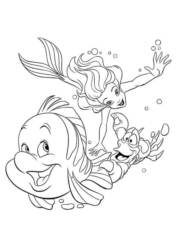 Tranh to màu Ariel và Flounder